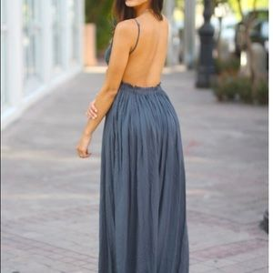 97c7e860154 Dresses - Lace Maxi Dress With Open Back and Frayed Hem